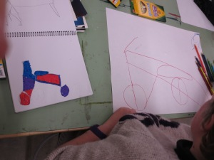 Becky's sketch of a bike that she then transferred onto a larger sheet of paper.